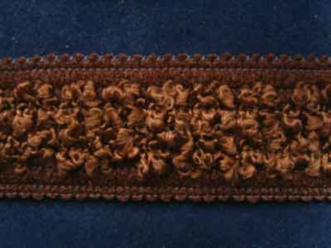 FT857 3cm Mixed Browns Soft Braid with a Raised Silky Chenille Centre