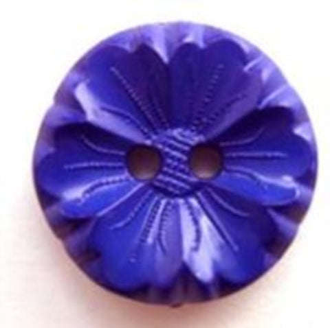 B5571 19mm Textured Purple Blue Flower Shaped 2 Hole Button - Ribbonmoon