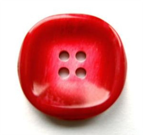 B17804 22mm Frosted Pale Scarlet Berry Red Gloss 4 Hole Button - Ribbonmoon
