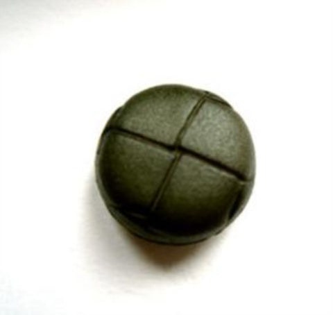 "B13060 15mm Chive Green Leather Effect ""Football"" Shank Button - Ribbonmoon"