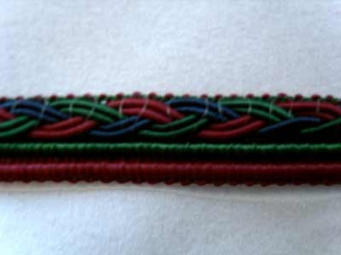 FT1003 12mm Maroon, Holly Green and Navy Corded Braid - Ribbonmoon