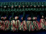 FT1689 75mm Greens, Pink and Beige Tassel Fringe on a Decorated Braid - Ribbonmoon