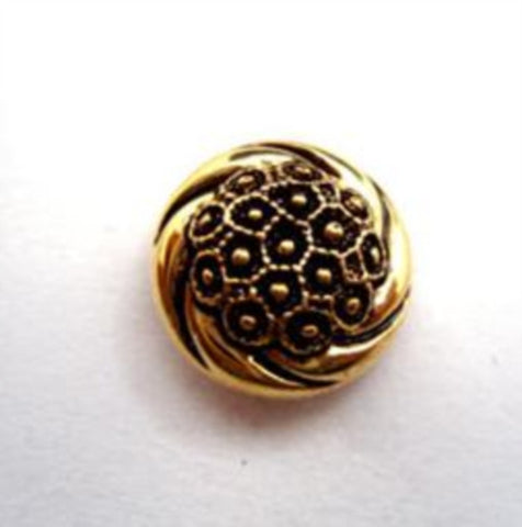 B9003 15mm Gilded Antique Gold Poly Shank Button