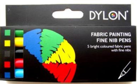 Fabric Pens by Dylon. 5 Bright Coloured with Fine Nibs