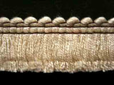 FT1508 23mm Cream and Brown Cut Ruched Fringing - Ribbonmoon