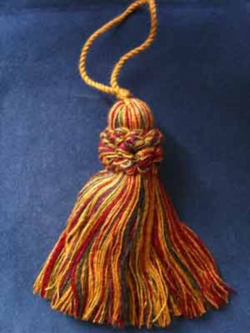 TASSEL 60 Old Gold, Burgundy, Green and Navy Viscose Chunky Tassel