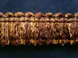 FT1509 3cm Rosy Brown,Ecru and Deep Honey Gold Cut Ruched Fringing - Ribbonmoon