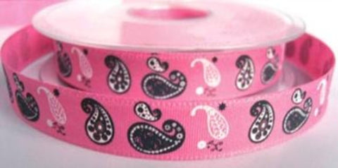 R7272 15mm Pink Retro Paisley Design Ribbon by Berisfords - Ribbonmoon