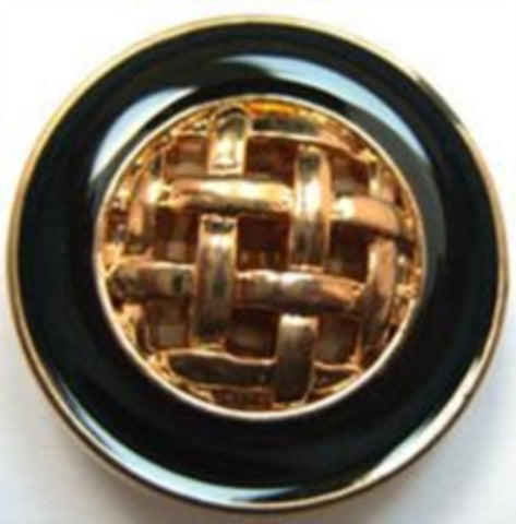 B14975 25mm Gloss Black and Gilded Gold Poly Shank Button - Ribbonmoon
