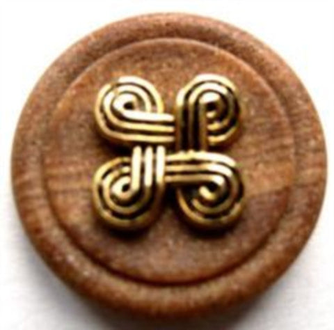 B10937 23mm Stone Effect Matt Tonal Brown Shank Button, Gilded Design - Ribbonmoon
