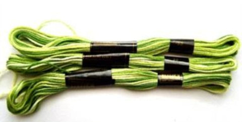 S033 8 Metre Skein Varigated Green Cotton Embroidery Thread, 6 Strand Colourfast - Ribbonmoon