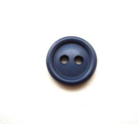 B10671 11mm Dusky Denim Blue Soft Sheen 2 Hole Button - Ribbonmoon