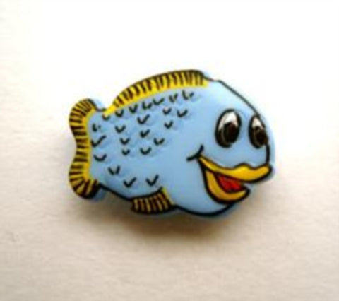 B14294 17mm Blue Fish Shaped Novelty Shank Button - Ribbonmoon