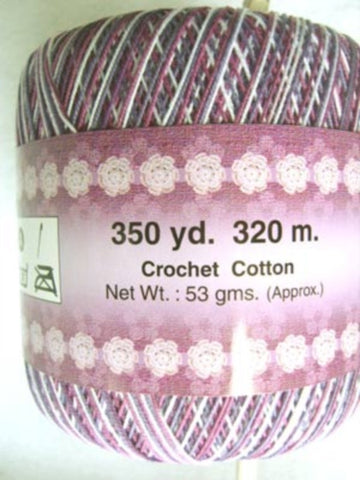 Crochet Cotton Varigated Purples and White, 320 Metres, 53 Gram Ball - Ribbonmoon
