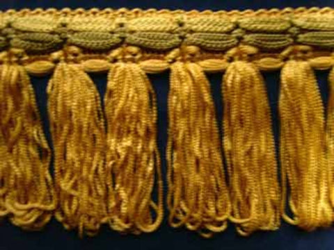 FT898 75mm Gold,Sage and Straw Looped Tassel Fringe on a Decorated Braid - Ribbonmoon