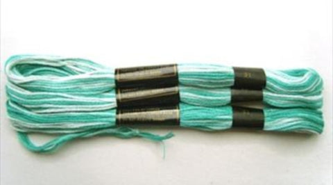 S031 8 Metre Skein Varigated Blue Cotton Embroidery Thread, 6 Strand Colourfast - Ribbonmoon