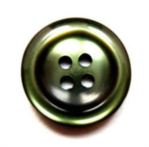 B16113 19mm Cypress Green Pearlised Polyester 4 Hole Button - Ribbonmoon