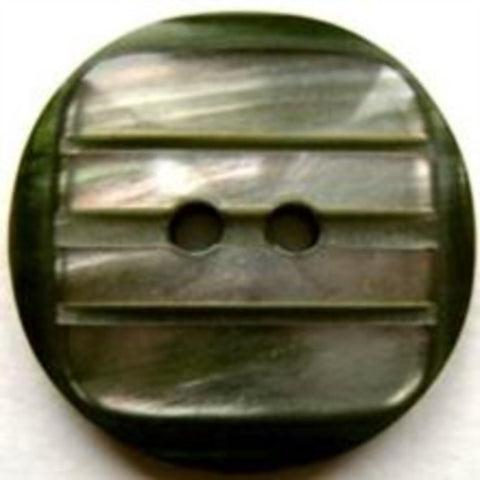 B17080 25mm Pearlised Iridescent Centre with a Green Rim 2 Hole Button - Ribbonmoon