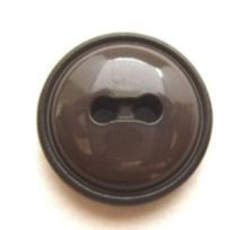 B8333 18mm Dusky Brown Domed and Gloss 2 Hole Button - Ribbonmoon