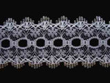 L363 35mm White and Metallic Silver Knitting in or Eyelet Lace - Ribbonmoon