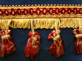 FT557 6cm Pale Burgundy and Butter Tassel Fringe on a Decorated Braid - Ribbonmoon