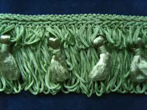 FT564 55mm Pale Bright Khaki Green Tassel Fringe on a Decorated Braid - Ribbonmoon