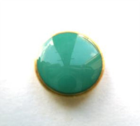 B6237 15mm Gloss Jade Green Shank Button, Gilded Gold Poly Rim - Ribbonmoon