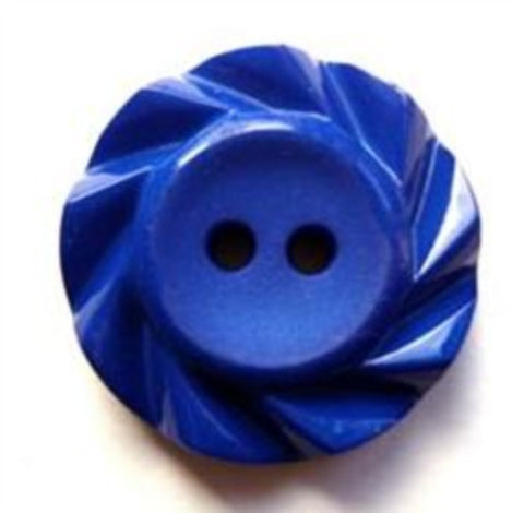 B17230 21mm Royal Blue Matt Centre 2 Hole Button with a Fluted Edge - Ribbonmoon