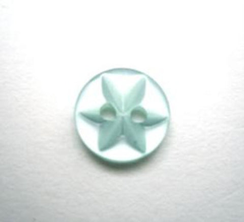 B11196 11mm New Turquoise 2 Hole Polyester Star Button - Ribbonmoon