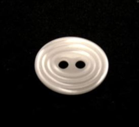 B10094 14mm Pearl White Oval Polyester 2 Hole Button - Ribbonmoon