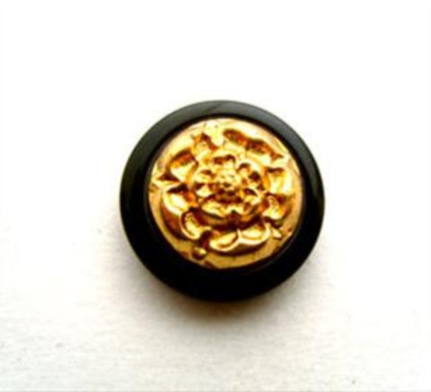 B9416 17mm Gold Plated Chunky Shank Button with a Black Gloss Rim