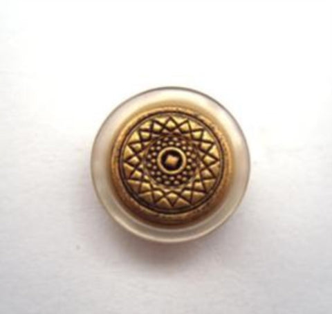 B14441 15mm Metal Brass Shank Button with a Beige Pearlised Rim - Ribbonmoon