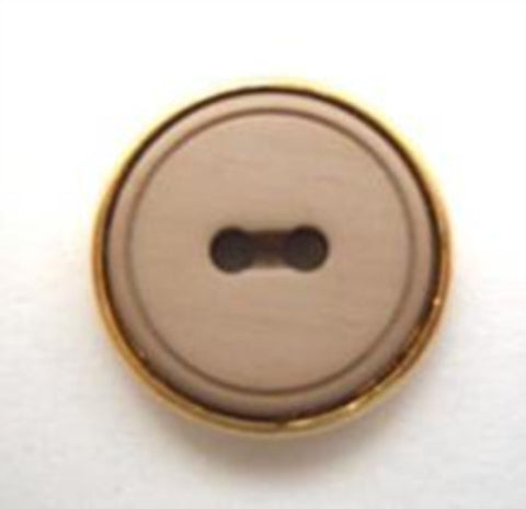 B6025 15mm Soft Sheen Beige 2 Hole Button with a Gilded Gold Poly Rim - Ribbonmoon