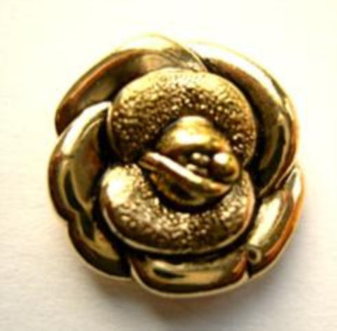 B12039 20mm Gilded Gold Poly Rose Design Shank Button - Ribbonmoon