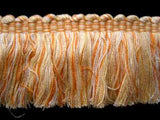 FT1422 55mm Creams, Primrose and Pale Orange Cut Ruched Fringing - Ribbonmoon