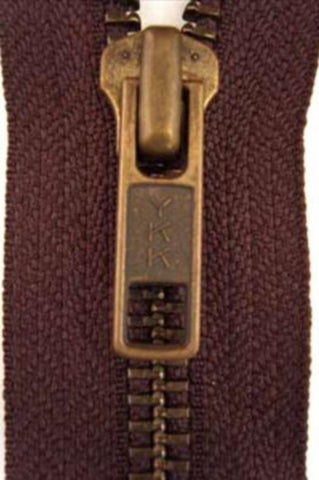 Z2809 YKK 43cm Congo Brown Closed End No.5 Zip with Brass Teeth - Ribbonmoon
