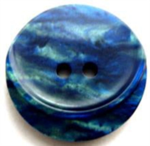 B9018 23mm Pearlised Royal Blue and Jade Shimmery 2 Hole Button