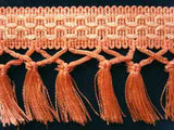 FT718 85mm Pale Apricot and Ivory Tassel Fringe on a Decorated Braid - Ribbonmoon