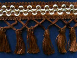 FT570 93mm Rich Brown, White and Gold Tassel Fringe on a Decorated Braid - Ribbonmoon