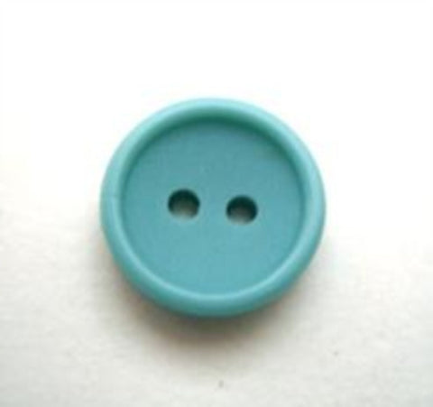 B10195 14mm Dusky New Turquoise Matt Centre 2 Hole Button - Ribbonmoon