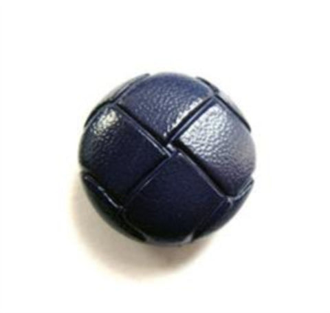 "B12657 17mm Rich Navy Leather Effect ""Football"" Shank Button - Ribbonmoon"