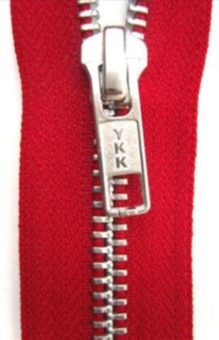 Z4797 46cm Red YKK Metal Teeth No.5 Open End Zip - Ribbonmoon