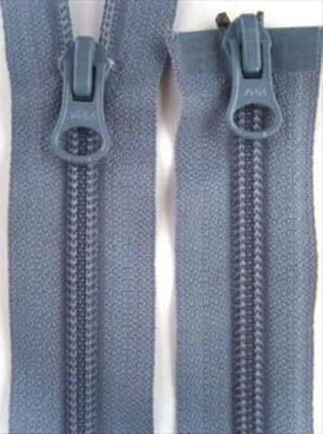 Z2778 56cm Blue Grey YKK Double Ended Zip, Nylon No.5 - Ribbonmoon