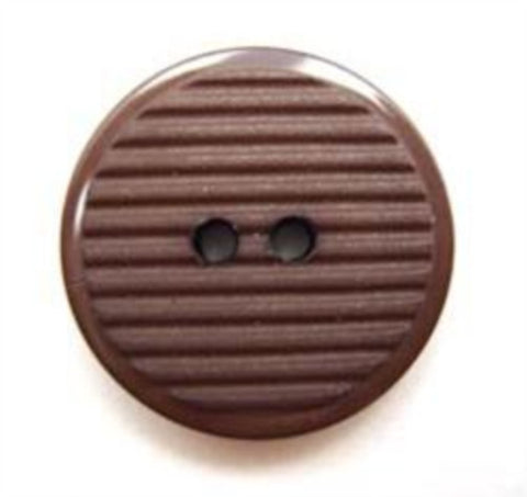 B5047 20mm Misty Brown Matt Grooved Centre 2 Hole Button - Ribbonmoon