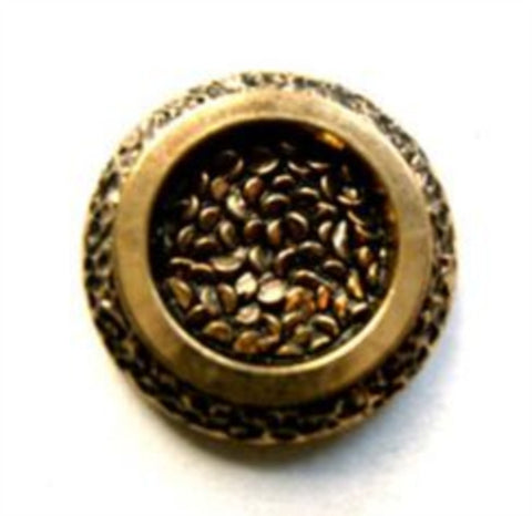 B11416 18mm Gold and Black Gilded Poly Shank Button - Ribbonmoon