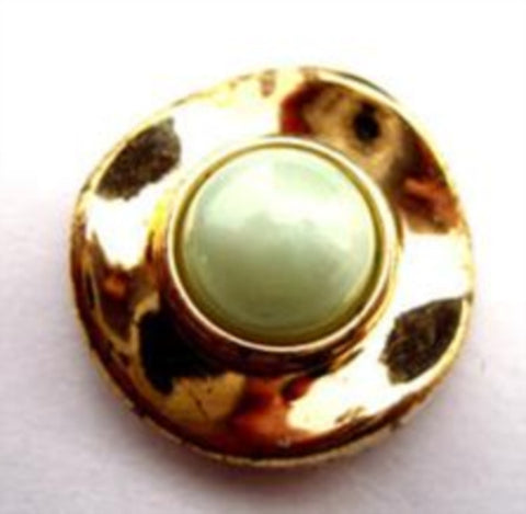 B14610 20mm Pale Mint Half Ball Shank Button with a Gilded Gold Rim - Ribbonmoon