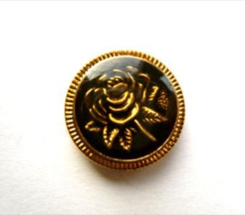 B12117 14mm Black and Gilded Gold Rim and Rose Design Shank Button - Ribbonmoon