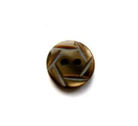 B17398 10mm Brown Pealised Polyester 2 Hole Button - Ribbonmoon