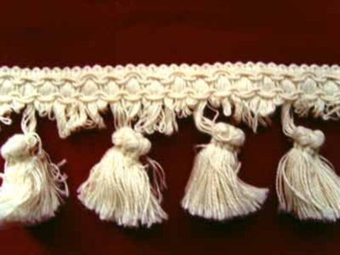 FT218 65mm Ivory Cotton Tassel Fringe on a Decorated Braid - Ribbonmoon