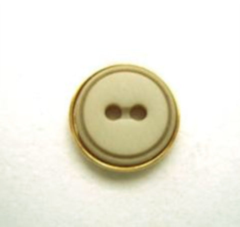 B9964 13mm Misty Green 2 Hole Button with a Gilded Gold Poly Rim - Ribbonmoon